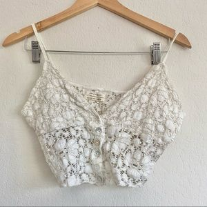 Urban Outfitters Button Front Floral Lace Bralette